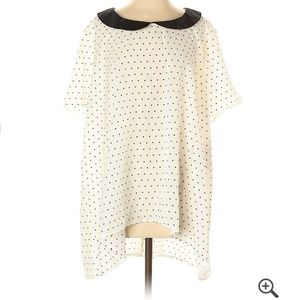 Polka dot sheer polyester blouse